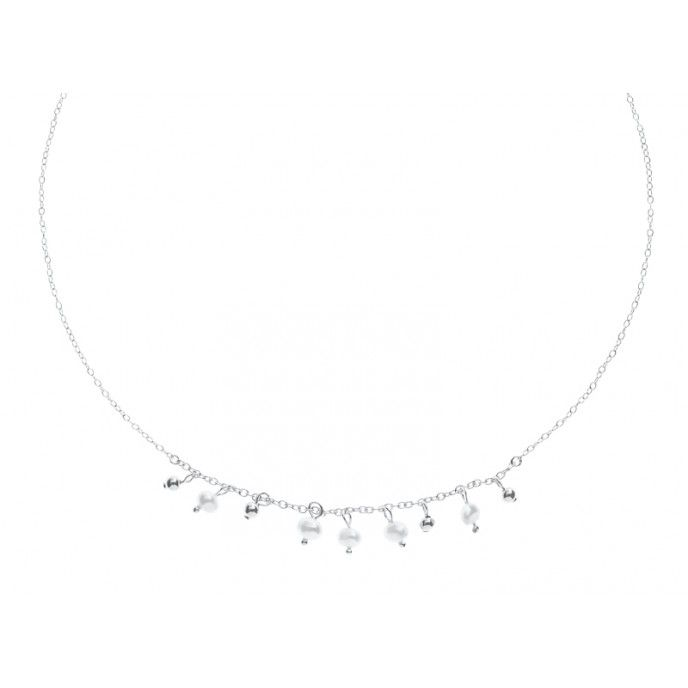 SILVER BEADS AND PEARLS CHOKER