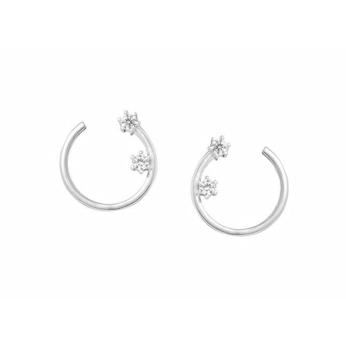 BRIGHT EARRINGS Silver Open Wheel Earrings 2 Zircons 1,2 cm Natural Stones 925 Sterling Silver
