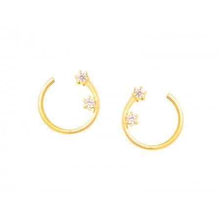 BRIGHT EARRINGS Silver Earrings Open Wheel 2 Zircons 1,2 cm Natural Stones Sterling Silver 92