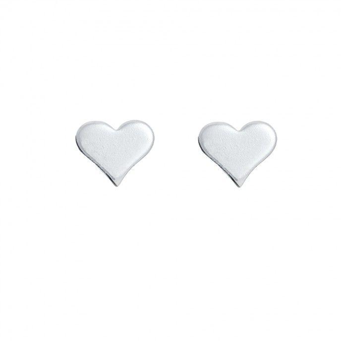 EARRINGS HEART MINI FLAT 6MM SILVER