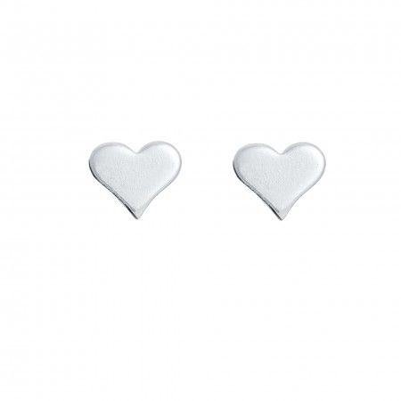 EARRINGS HEART MINI FLAT 6MM SILVER