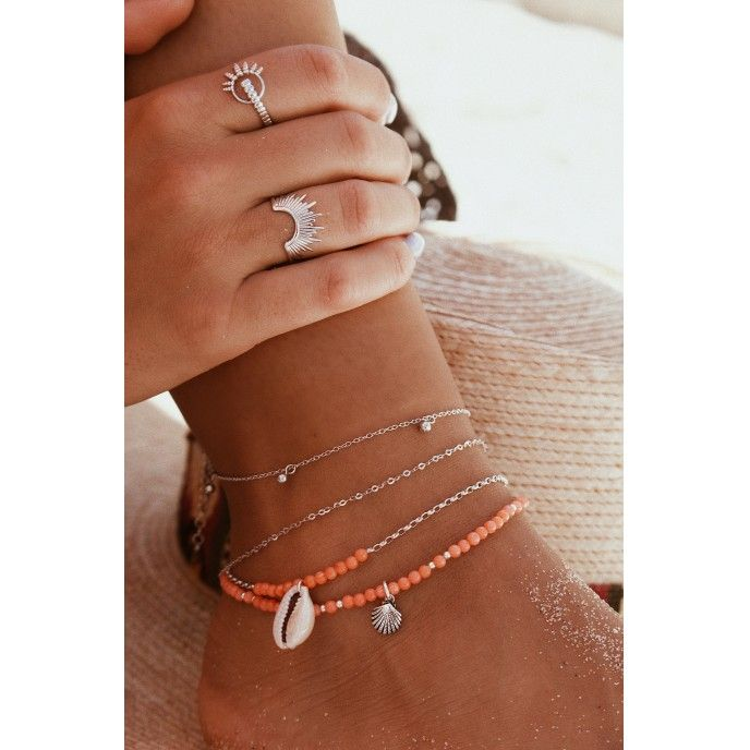 CHAIN ANKLET WITH BEADS